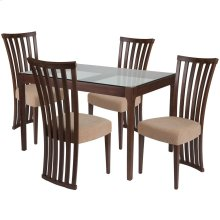 5 Piece Walnut Wood Dining Table Set with Glass Top and Dramatic Rail Back Design Wood Dining Chairs - Padded Seats