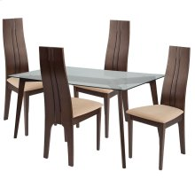 5 Piece Espresso Wood Dining Table Set with Glass Top and Padded Wood Dining Chairs