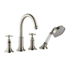 Brushed Nickel 4-hole tile mounted bath mixer with cross handles
