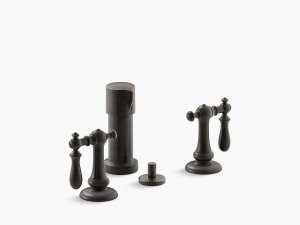 Oil-rubbed Bronze Widespread Bidet Faucet With Swing Lever Handles Product Image