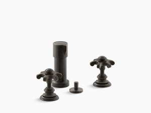 Oil-rubbed Bronze Widespread Bidet Faucet With Prong Handles Product Image