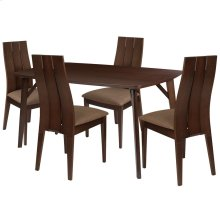 5 Piece Espresso Wood Dining Table Set with Wide Slat Back Wood Dining Chairs - Padded Seats