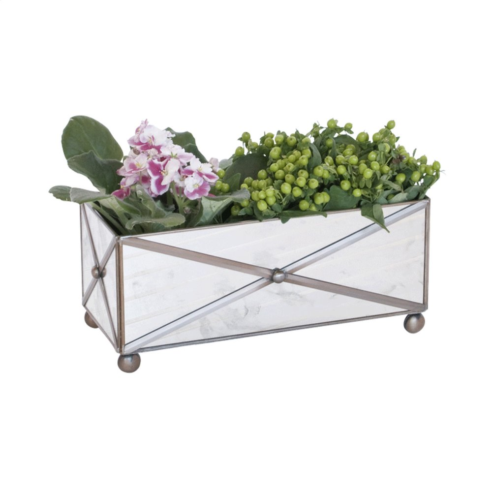 Rectangular Crosshatch Antique Mirror Planter