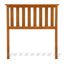 Belmont Wood Headboard Panel with Flat Top Rail and Slatted Grill Design, Maple Finish, Twin