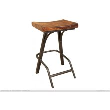 """30"""" Stool - with wooden seat & iron base"""