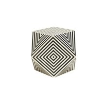 Geometric Black and Off White Resin Side Table