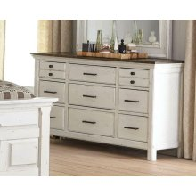 Traditional Rustic Latte and Vintage White Dresser