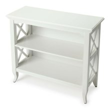 This stylish bookcase is a wonderful accent in a living room, family room, hallway, kitchen, child's room or home office. Made for smaller spaces, versatility is one of its key attributes. Crafted from select hardwood solids and wood products, it featur