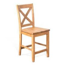 "24""H Crossback Barstool, Wood Seat"