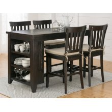 Prospect Creek Reclaimed Pine Counter Height Table With 3 Shelf Storage
