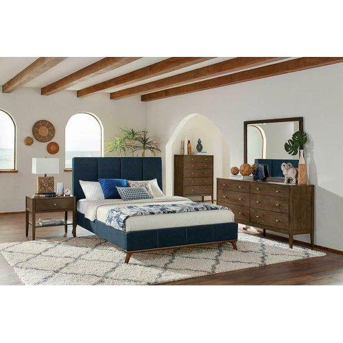 Charity Blue Upholstered Full Bed