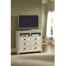 Media Chest - Distressed White Finish