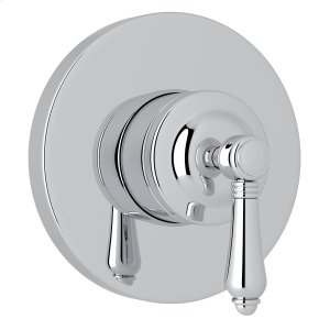 Polished Chrome Italian Bath 4-Port, 3-Way Diverter Trim with Metal Lever Product Image