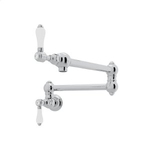 Polished Chrome Italian Kitchen Wall Mount Swing Arm Pot Filler with Porcelain Lever Product Image