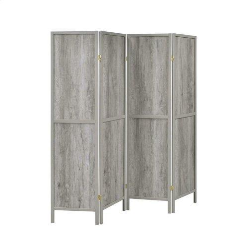 Rustic Grey Driftwood Four-panel Screen