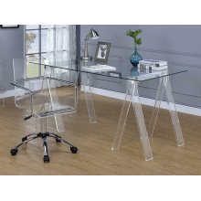 Amaturo Clear Acrylic Sawhorse Writing Desk