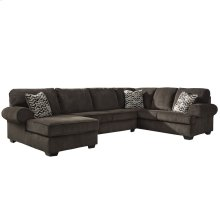 Signature Design by Ashley Jinllingsly 3-Piece Right Side Facing Sofa Sectional in Chocolate Corduroy