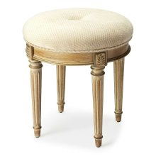 This splendid vanity stool adds formal elegance to any powder or dressing room. Handcrafted from hardwood solids and cherry veneers, it features impeccably carved and tapered legs, ballerina feet, classic Driftwood finish and a comfortable seat upholstere