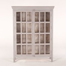 "Coral Gables 52"" Tall Glass Cabinet Graywash"