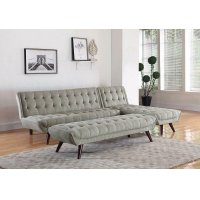 Natalia Mid-century Modern Dove Grey Bench Product Image