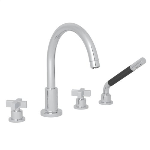 Polished Chrome Pirellone 4-Hole Deck Mount Tub Filler With Handshower with Cross Handle
