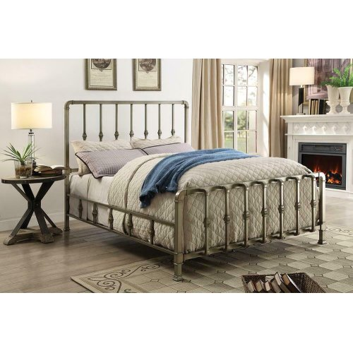 Micah Champagne Metal Queen Bed With Mold-casted Ornaments