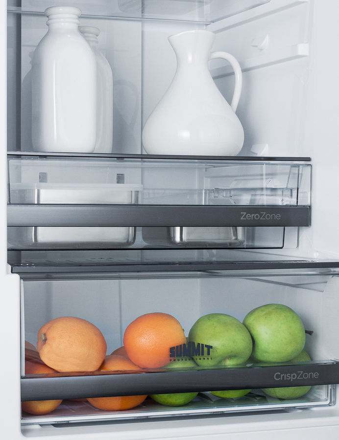 European Counter Depth Bottom Freezer Refrigerator With Icemaker Stainless Steel Doors Platinum Cabinet And Digital Controls For Each Section