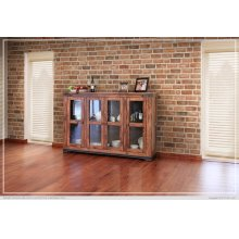 "70"" Console w/4 glass doors"