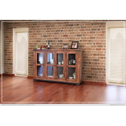 "70"" Console w/4 glass doors"