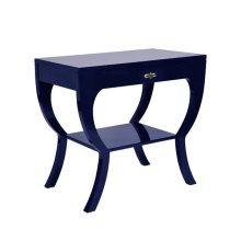 Curvy Side Table With Acrylic Hardware In Navy Lacquer