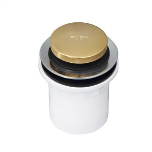 Push Button Tub Drain with PVC Adapter - Polished Brass Product Image