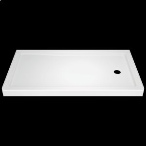 """High Gloss White 60"""" x 32"""" Shower Base - Right Drain Product Image"""