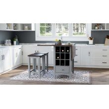Asbury Park Counter Drop Leaf Table W/2 Backless Stools - Grey/autumn