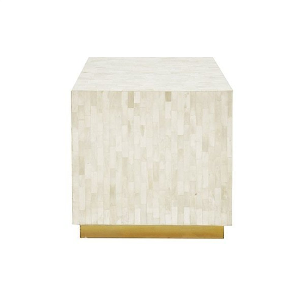 White Bone Cube Stool With Antique Brass Base