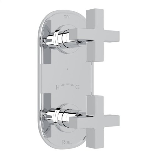 """Polished Chrome Pirellone 1/2"""" Thermostatic/Diverter Control Trim with Cross Handle"""
