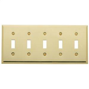 Polished Brass Beveled Edge 5 Gang Toggle Product Image