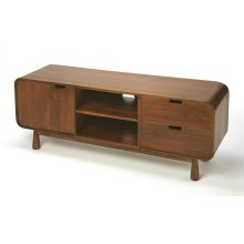 Entertain guests with this 49.5 W, entertainment center, a perfect blend of mid-century classic design and modern functionality. With open shelves, Storage cabinet, and two drawers to keep your favorite entertainment accessories neatly stowed away. Media