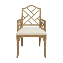 Chippendale Style Bamboo Dining Armchair In Cerused Oak