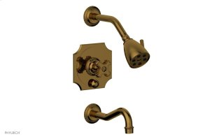 MARVELLE Pressure Balance Tub and Shower Set - Cross Handle 162-26 - French Brass Product Image