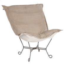 Scroll Puff Chair Bella Sand Titanium Frame
