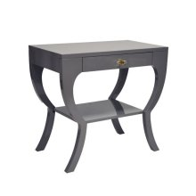 Curvy Side Table With Acrylic Hardware In Dark Grey Lacquer