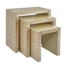 Global Archive Capiz Basket Weave Nesting Tables (set of 3) - Sand