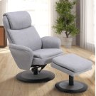 Denmark Recliner and Ottoman in Light Grey Fabric Product Image