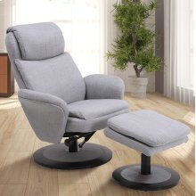 Denmark Recliner and Ottoman in Light Grey Fabric