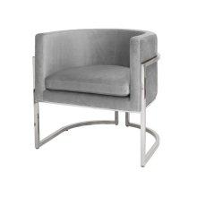 "Nickel Frame Barrel Arm Chair In Grey Velvet Seat Heigh 20.5"""