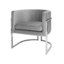 Nickel Frame Barrel Arm Chair In Grey Velvet Seat Heigh 20.5""