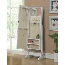 Transitional White Cheval Mirror and Jewelry Armoire