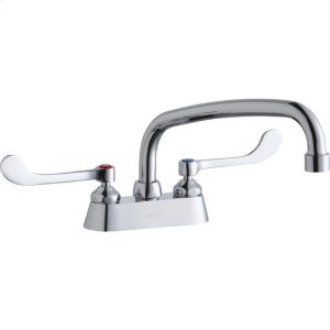 """Elkay 4"""" Centerset with Exposed Deck Faucet with 10"""" Arc Tube Spout 6"""" Wristblade Handles Product Image"""