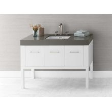 """Calabria 48"""" Bathroom Vanity Base Cabinet in White"""