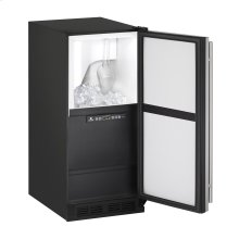 "1000 Series 15"" Clear Ice Machine With Black Solid Finish and Field Reversible Door Swing, Pump Included (115 Volts / 60 Hz)"